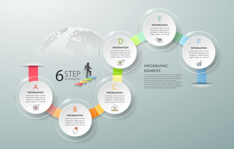Business concept infographic template 6 steps. Can be used for workflow layout, diagram, number options, timeline or milestones project royalty free illustration