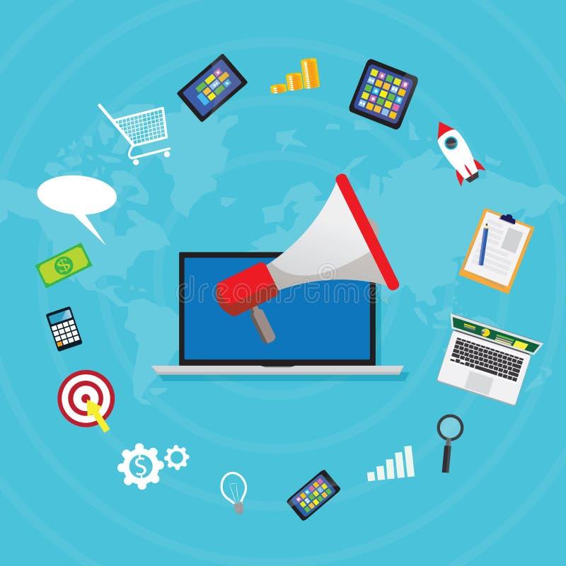 Business Concept. Internet Online Digital Marketing Vector. Vector illustration. Business concept. Internet web online digital marketing selling content product vector illustration