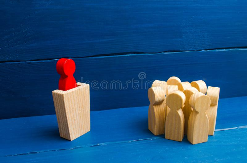 Business concept of leader and leadership qualities, crowd management, political debate and elections. Business management. stock image