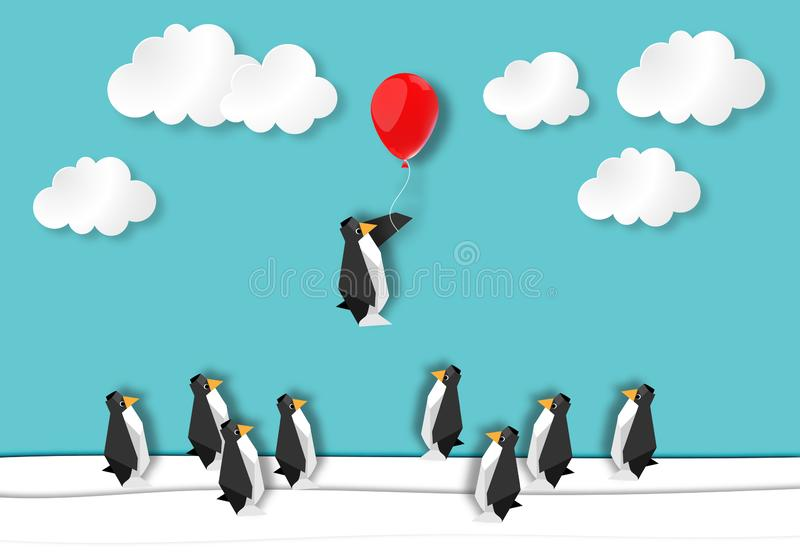 Leadership innovation with a penguins rising up with a balloon vector. Business concept and leadership innovation with a group of penguins standing on ice with vector illustration