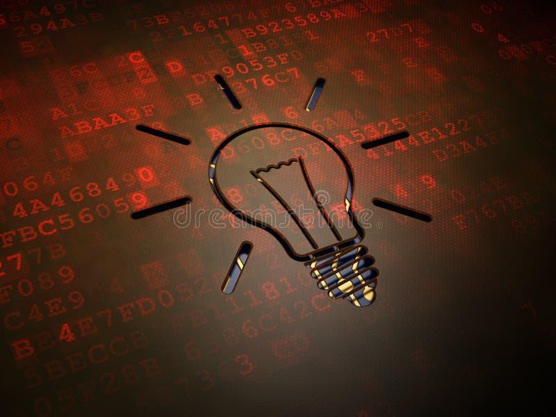 Business concept: Light Bulb on digital screen