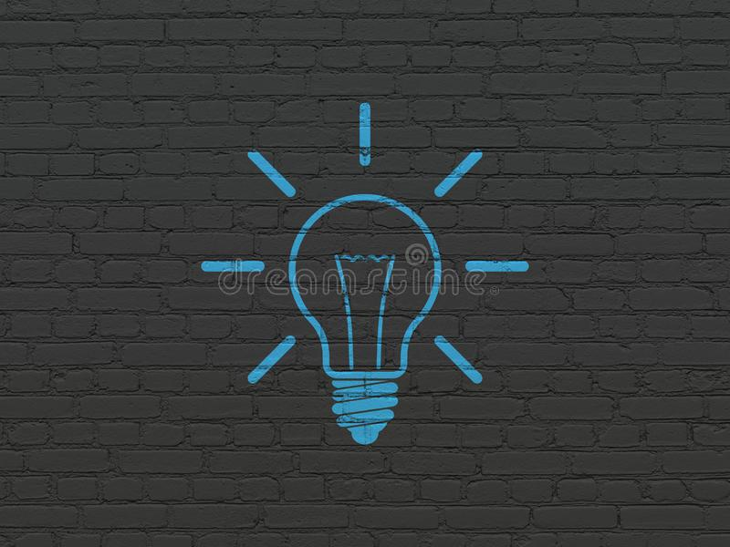 Business concept: Light Bulb on wall background royalty free stock images