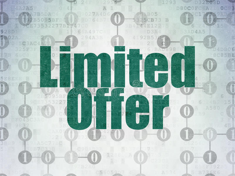 Business concept: Limited Offer on Digital Paper. Business concept: Painted green text Limited Offer on Digital Paper background with Scheme Of Binary Code, 3d royalty free illustration
