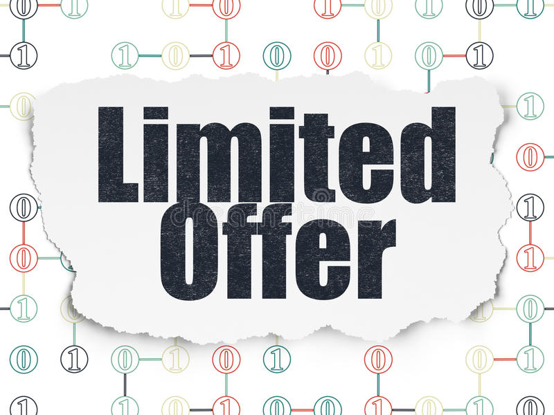 Business concept: Limited Offer on Torn Paper. Business concept: Painted multicolor text Limited Offer on Torn Paper background with Scheme Of Binary Code, 3d royalty free stock image