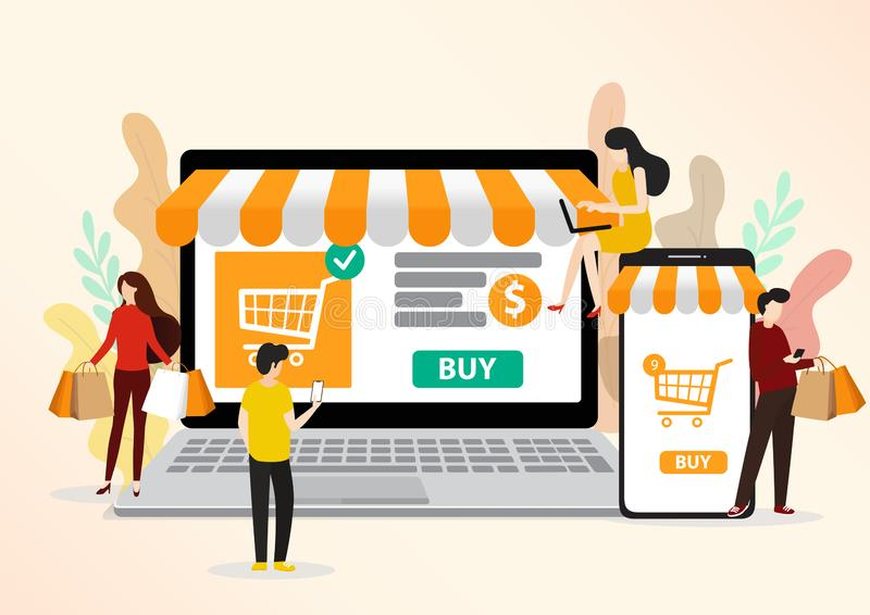 Business concept for M-Commerce, easy to use and highly customizable stock photography
