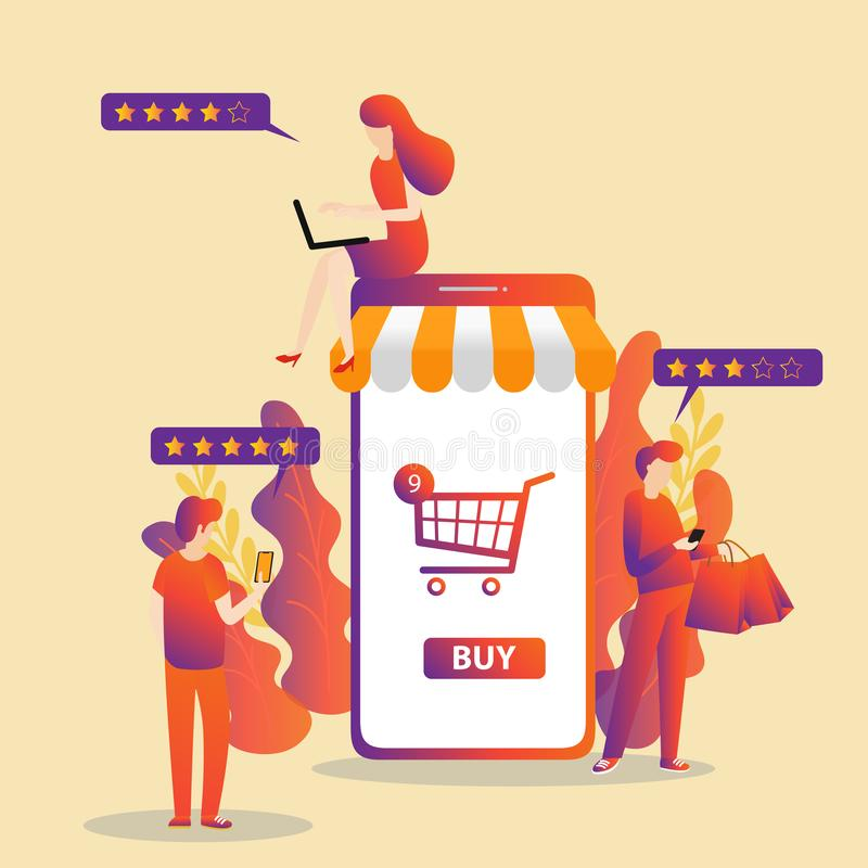 Business concept for M-Commerce, easy to use and highly customizable stock image