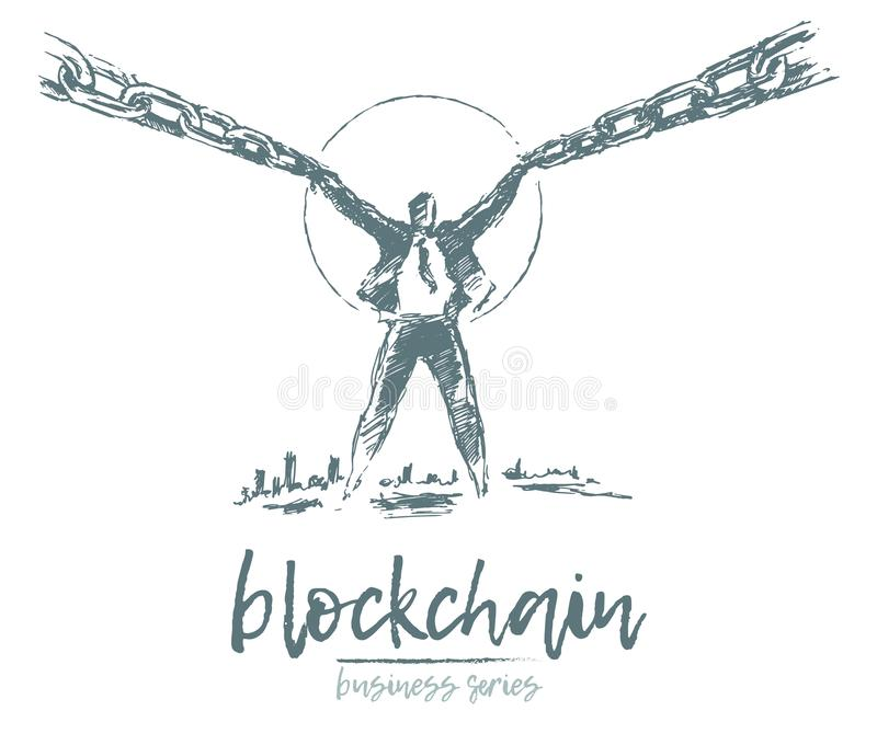 Business concept man chain block chain vector. Business concept, man holding link of the chain, blockchain, vector illustration, hand drawn, sketch stock illustration