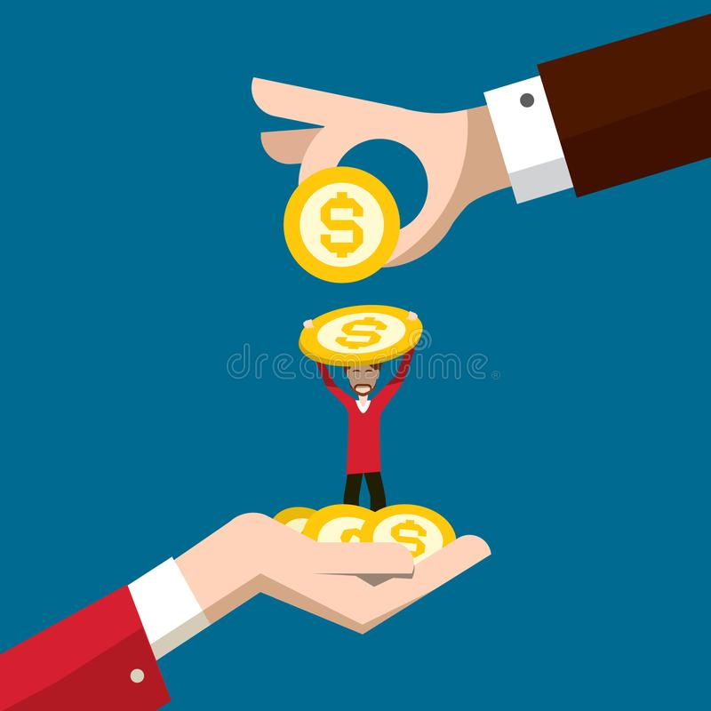 Business Concept with Man Holding Dollar Coin and Big Hands Vector Illustration. Money Savings or Investment Design. vector illustration
