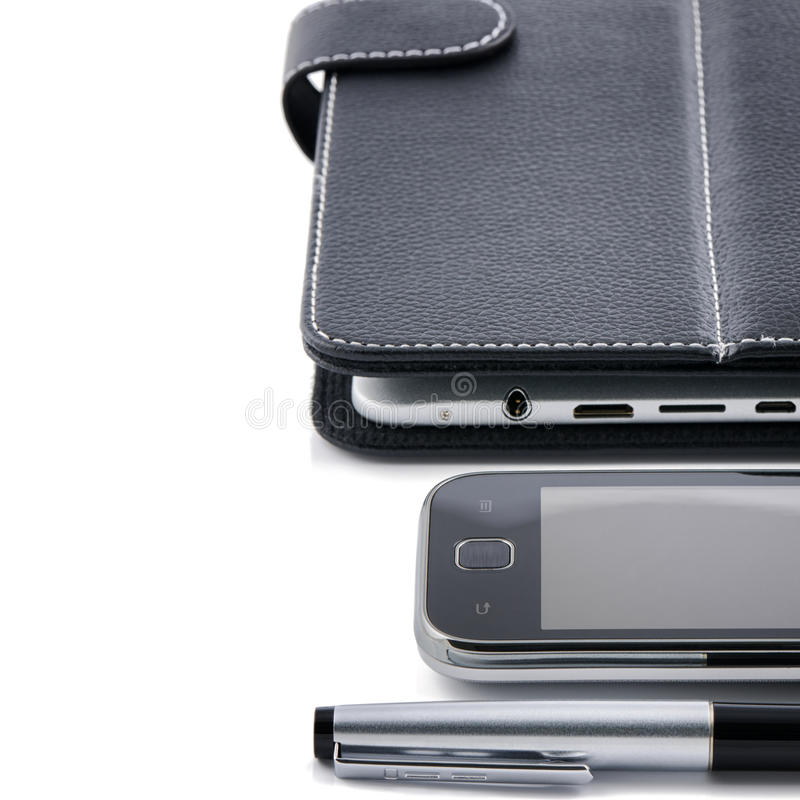 Business concept. Mobile phone, tablet pc and pen stock photo