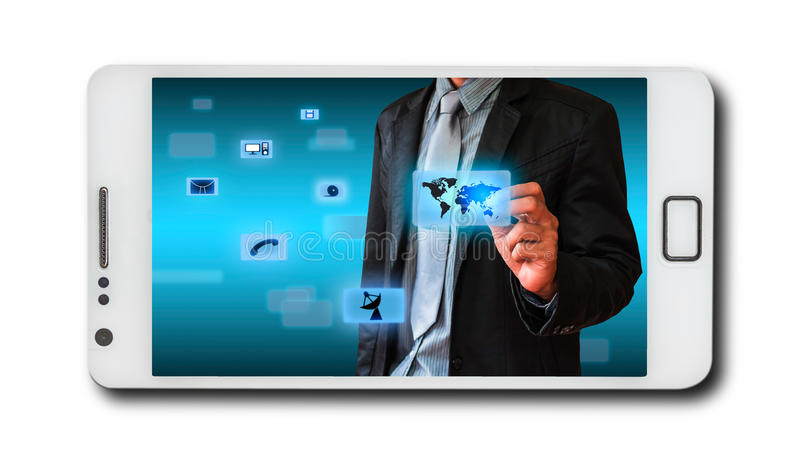 Business concept on mobile phones. To illustrate a general And add text stock illustration