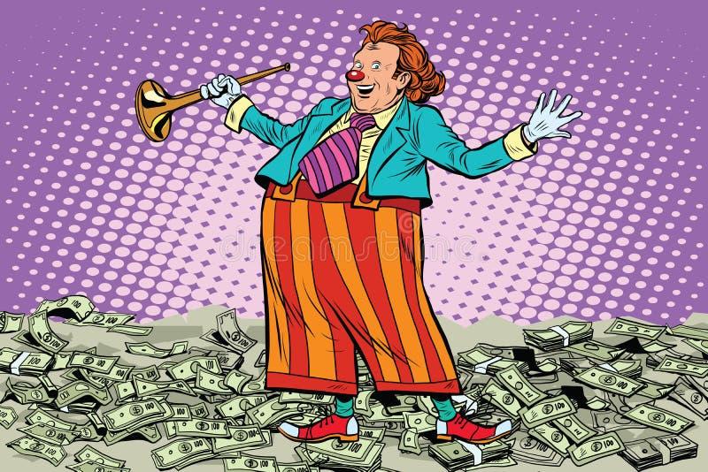 Business concept money clown joke royalty free illustration