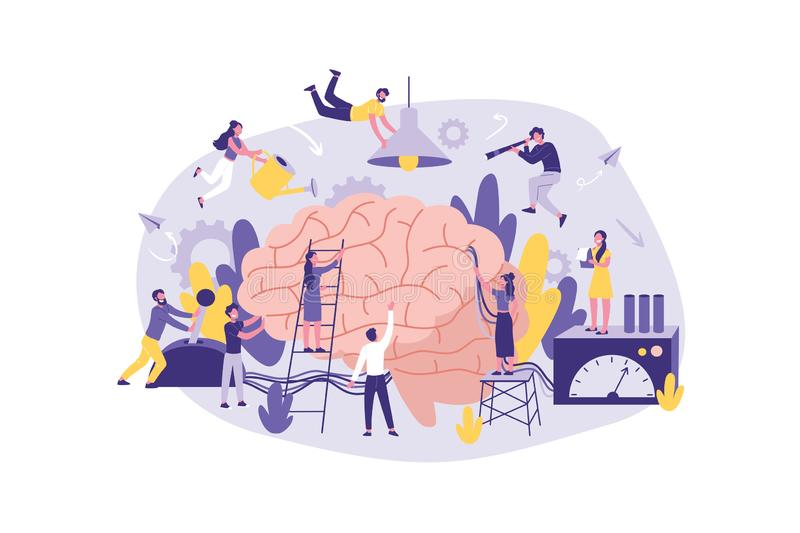 Business Concept Neuromarketing, Brainstorm, AI. A large Group of Clerks perform Work , information Search, Analysis stock illustration