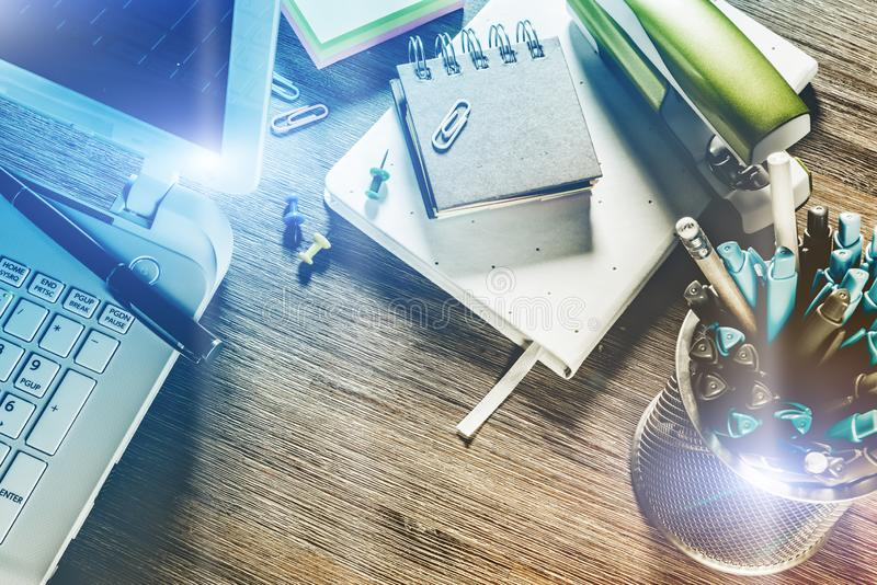 Business concept with office desk top. Online business, banking, consulting royalty free stock photography