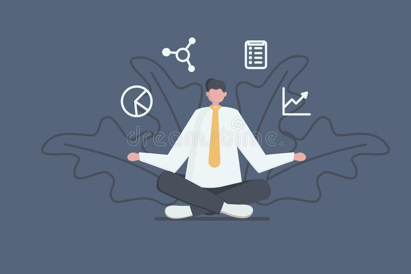 Business concept. Office manager sitting and meditating. Businessman relaxed calm in lotus pose. vector illustration