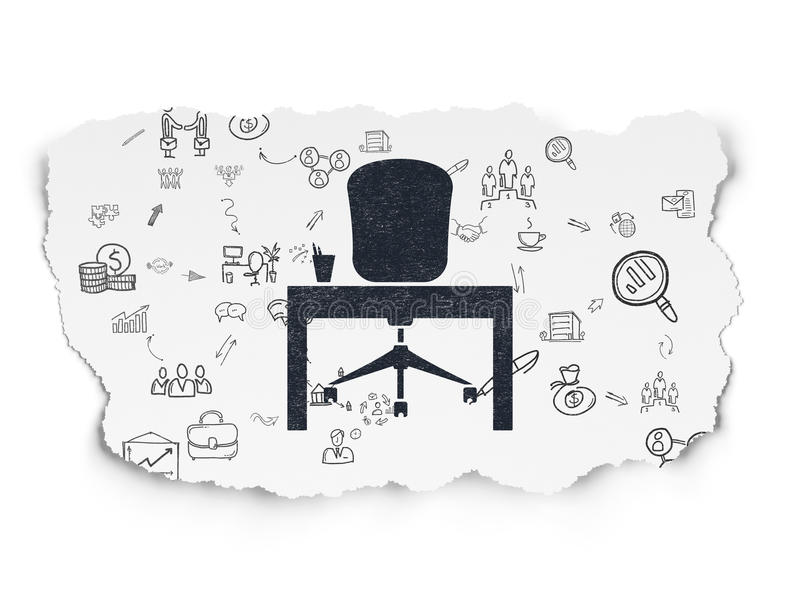 Business concept: Office on Torn Paper background vector illustration