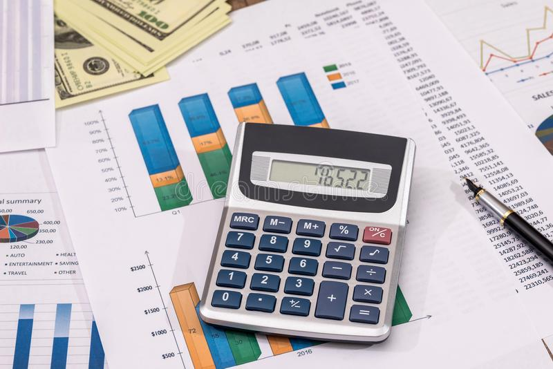 Business concept of office working - counting about cost annual budget.  royalty free stock images