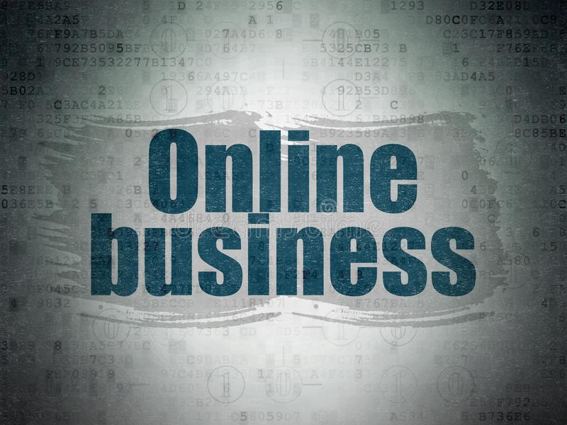 Business concept: Online Business on Digital Data Paper background. Business concept: Painted blue text Online Business on Digital Data Paper background with vector illustration
