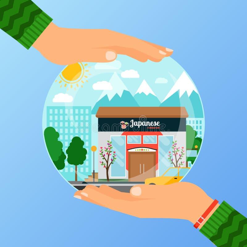 Business concept for opening japanese restaurant vector illustration