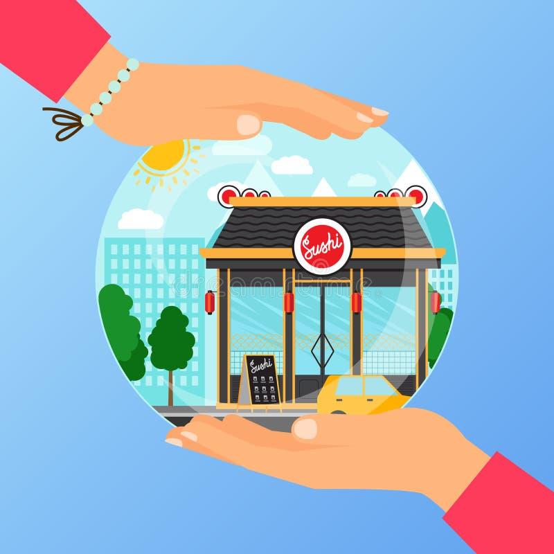 Business concept for opening sushi restaurant stock illustration