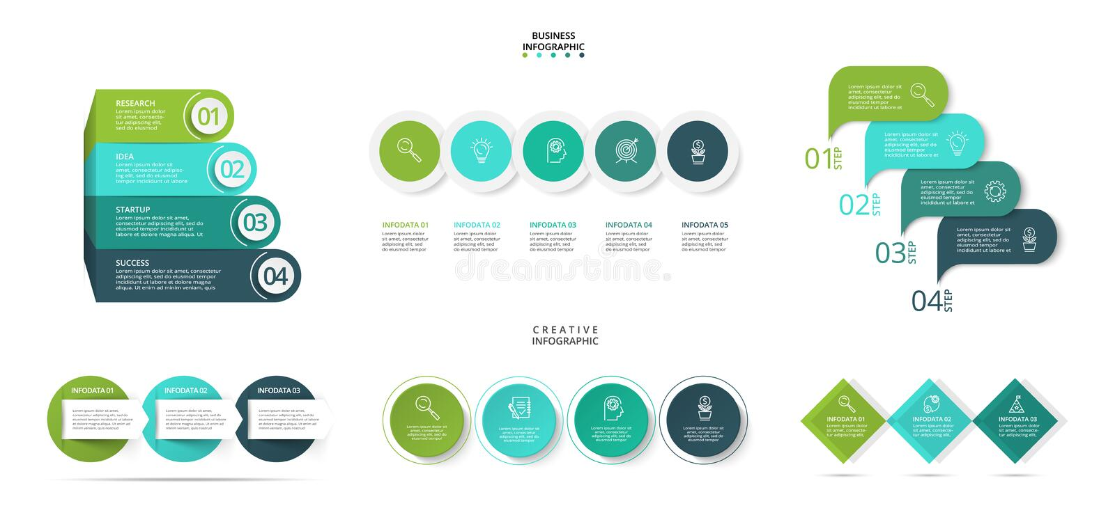 Business concept with 3, 4 and 5 options, parts, steps or processes. Can be used for workflow layout, diagram. Infographic design vector vector illustration