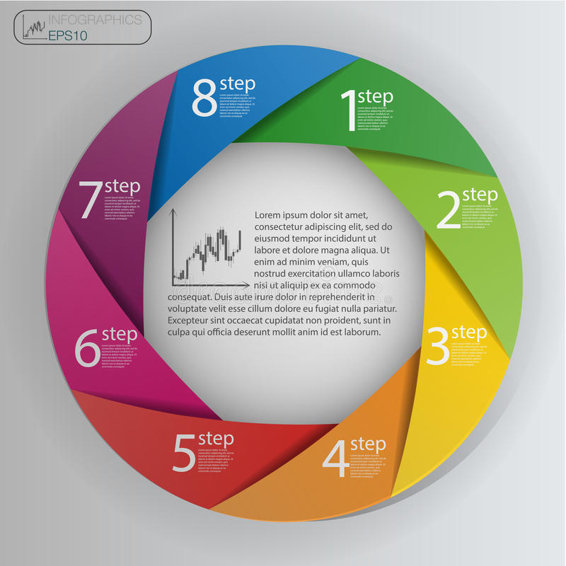 Business concept with 8 options, parts, steps or processes. Info graphic design template. royalty free illustration