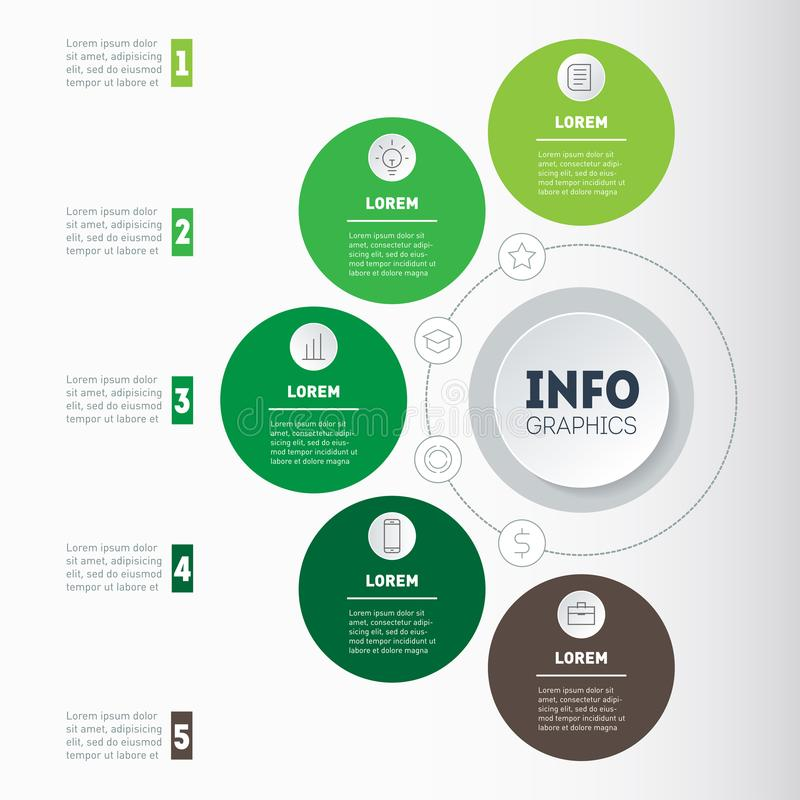 Business concept with 5 options, parts, steps or processes. Time. Line infographics. The development and growth of the ecology business. Time line of farming vector illustration