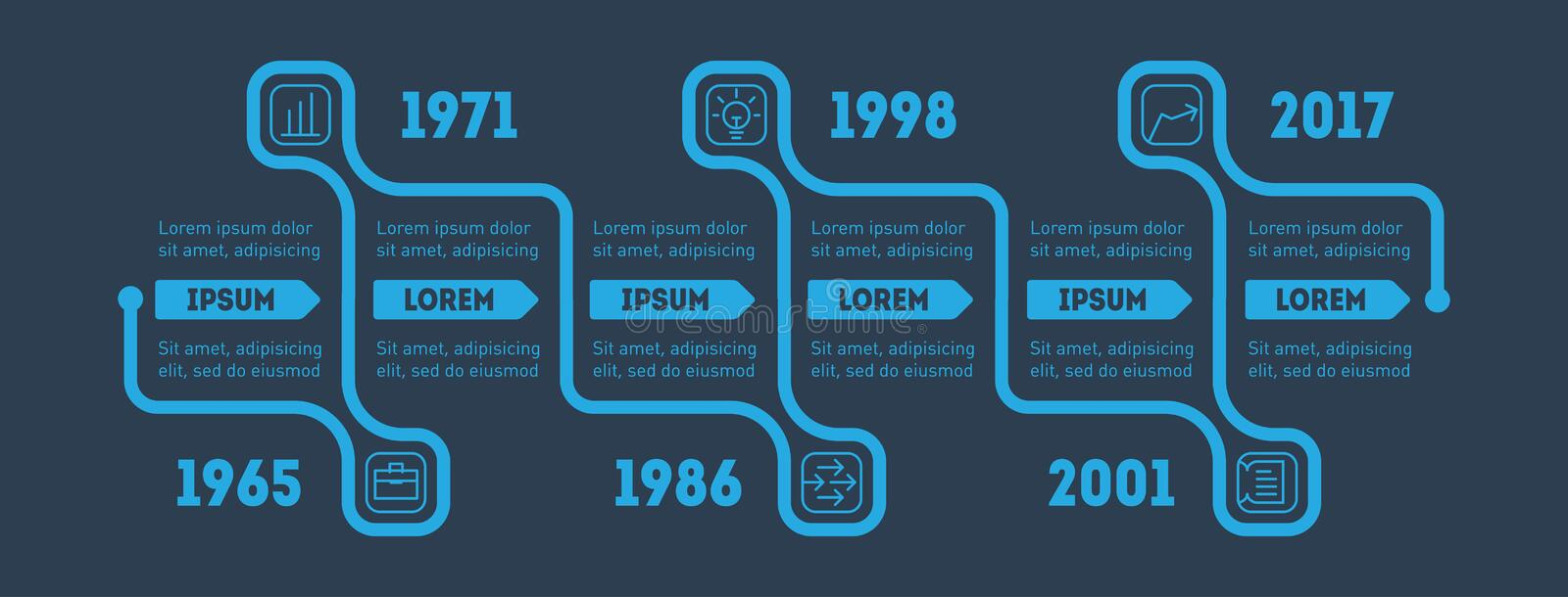 Business concept with options, parts, steps or technology processes. Horizontal Infographic timeline. Vector web template for royalty free illustration