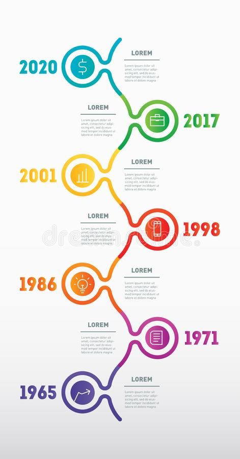 Business concept with 7 options, parts, steps or technology processes. Vertical Infographic timeline. Vector web template for. Presentation with icons. Time vector illustration