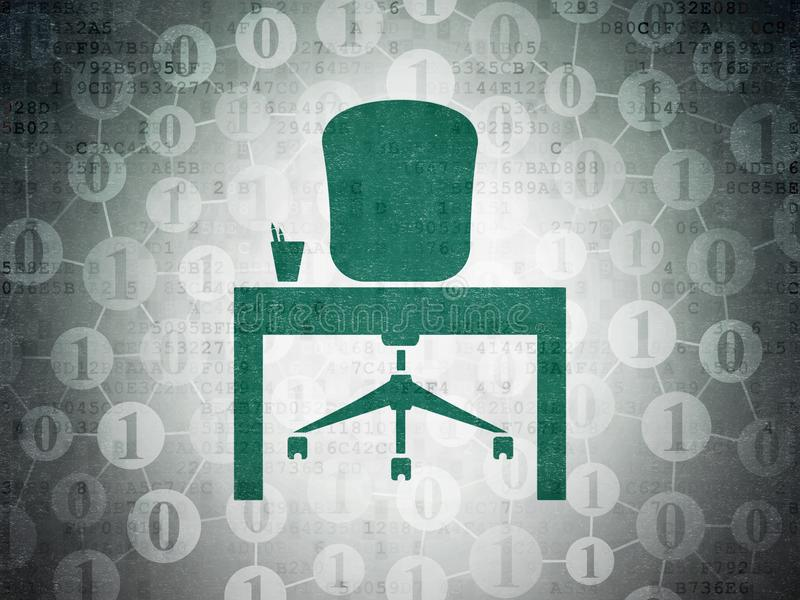 Business concept: Office on Digital Data Paper background. Business concept: Painted green Office icon on Digital Data Paper background with Scheme Of Binary royalty free illustration