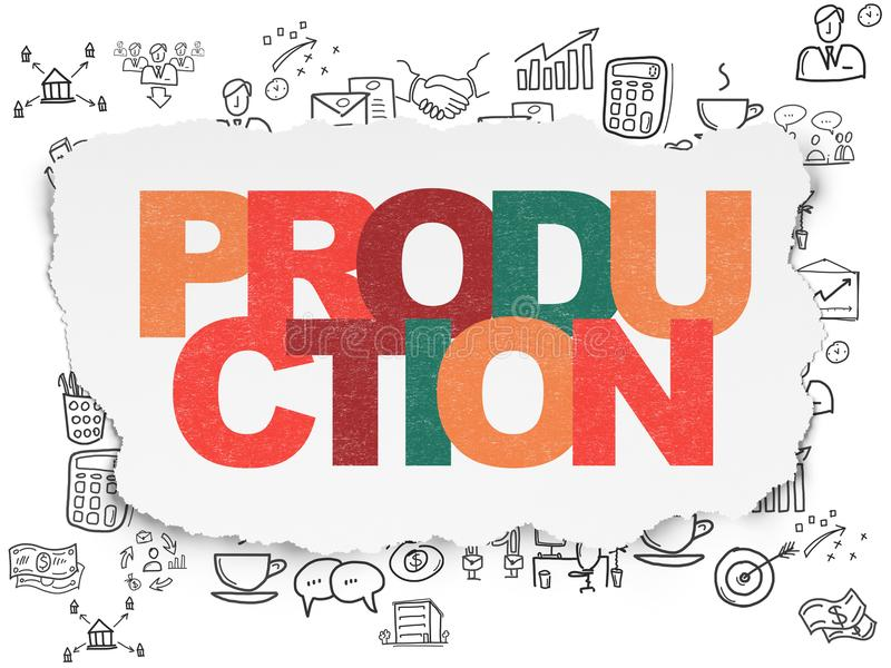 Business concept: Production on Torn Paper background stock illustration
