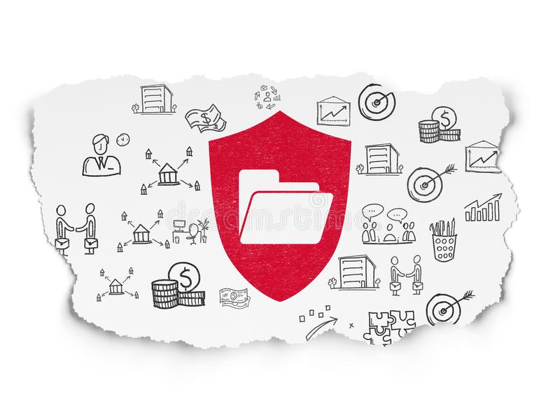 Business concept: Folder With Shield on Torn Paper background. Business concept: Painted red Folder With Shield icon on Torn Paper background with Hand Drawn stock image