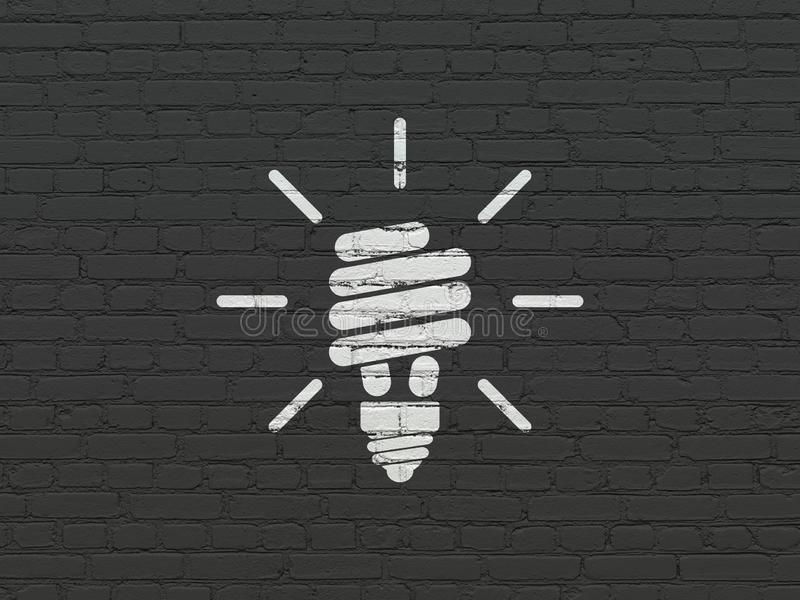 Business concept: Energy Saving Lamp on wall background stock images