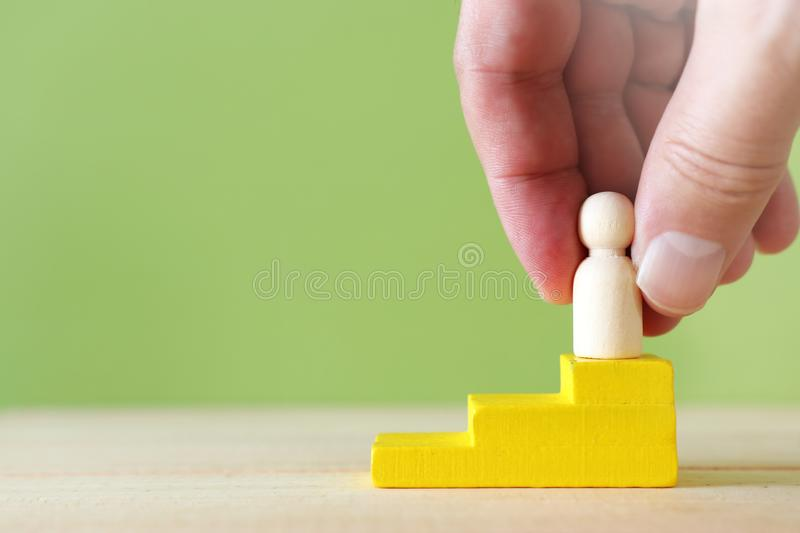 Business concept pf leadership and standing out of the crowd, building a team and manager stock image