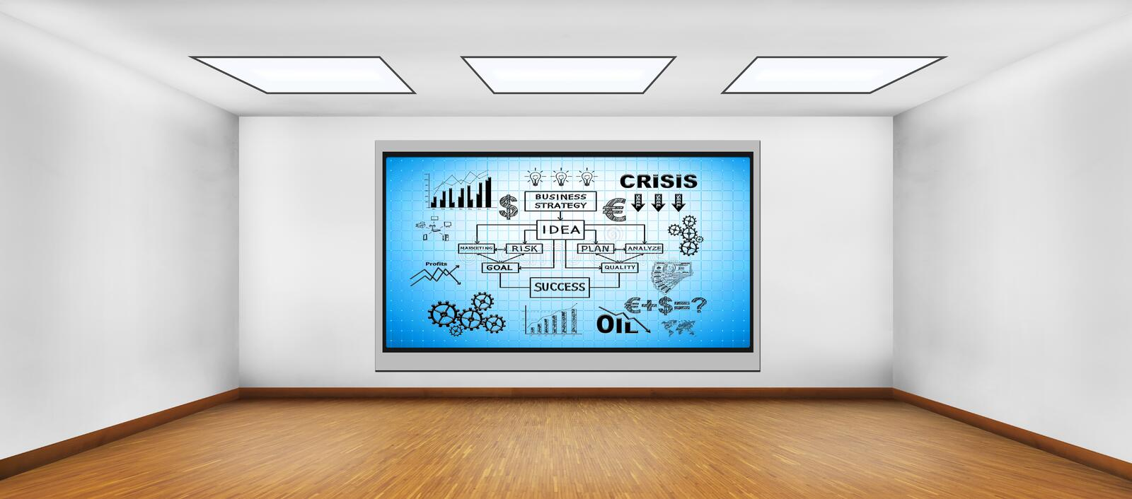 Business concept. Plasma tv on wall with business concept stock illustration