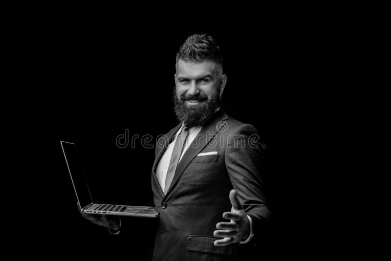 Business concept. Portrait of smiling businessman shaking hands. Concept of partnership in business. Laughing confident. stock image