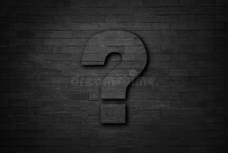 Business concept of question mark on black brick wall texture background stock image