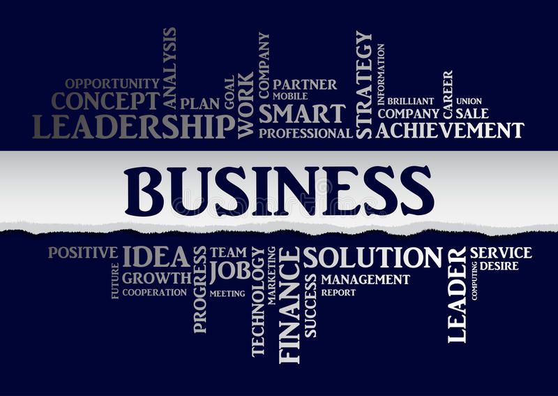 Business concept related words in tag cloud. Vector. Business concept related words in tag cloud with different association business terms. The effect of torn vector illustration