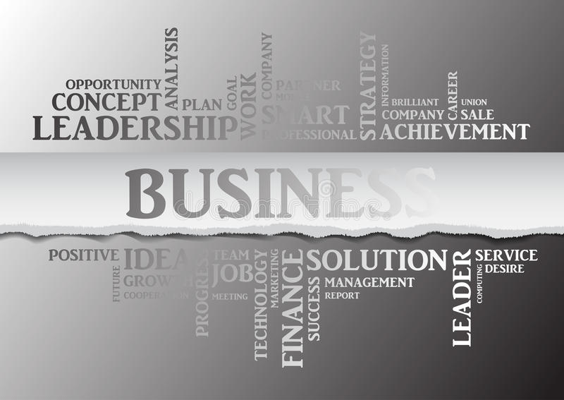 Business concept related words in tag cloud. Vector. Business concept related words in tag cloud isolated with different association business terms. The effect vector illustration