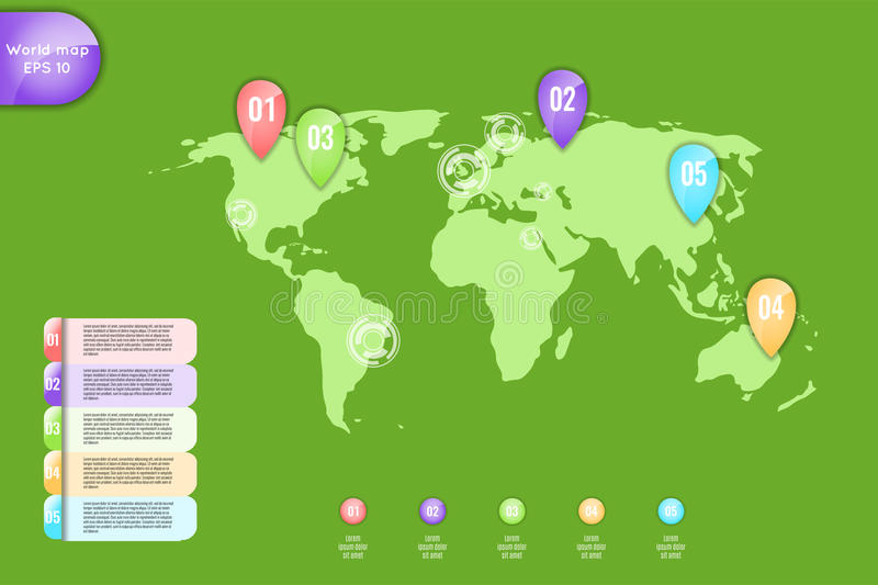 Business concept. Set of infographic elements world map, banners for options, parts or steps.Can be used for web vector illustration