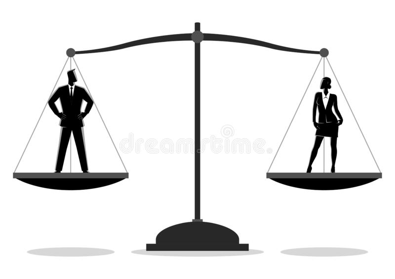 Businessman and businesswoman standing on a scale royalty free stock image