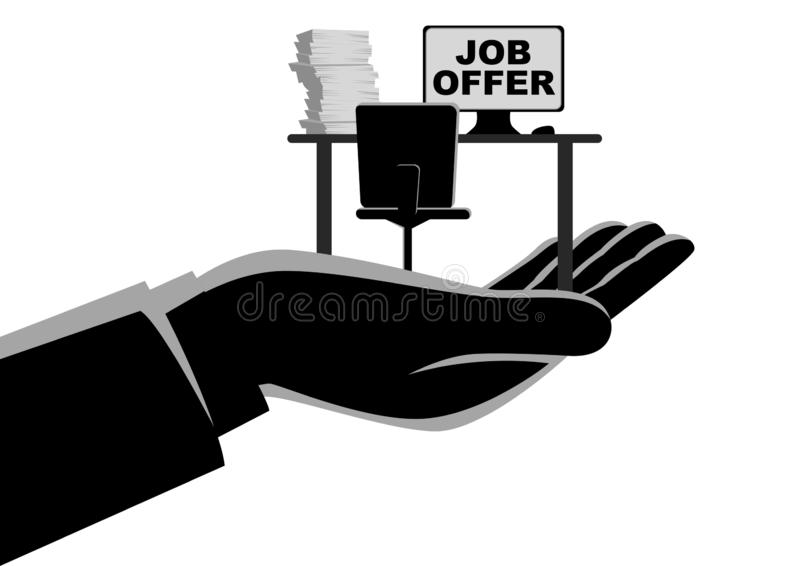 Job Offer Concept. Business concept simple flat vector illustration of a hand offering an empty desk. Job vacancy, job offer concept vector illustration