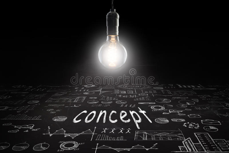 Business concept - sketch with schemes and graphs on chalkboard. Business concept - word `Concept `, sketch with schemes and graphs on chalkboard royalty free stock image