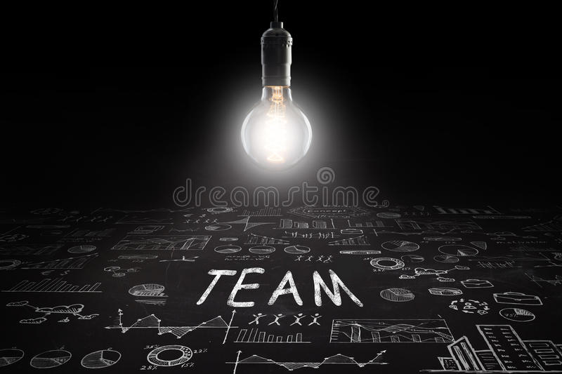 Business concept - sketch with schemes and graphs on chalkboard. Business concept - word ` `, sketch with schemes and graphs on chalkboard royalty free stock photo