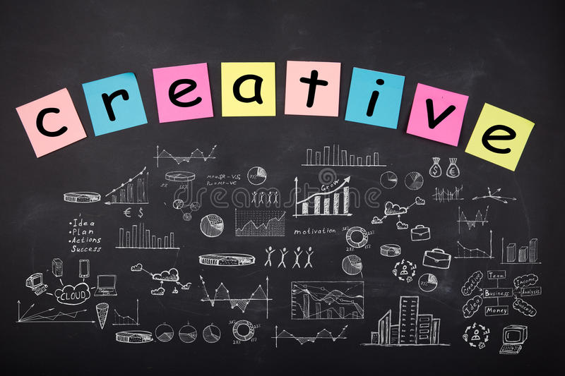 Business concept - sketch with schemes and graphs on chalkboard. Business concept - word ` Creative`, sketch with schemes and graphs on chalkboard stock photo