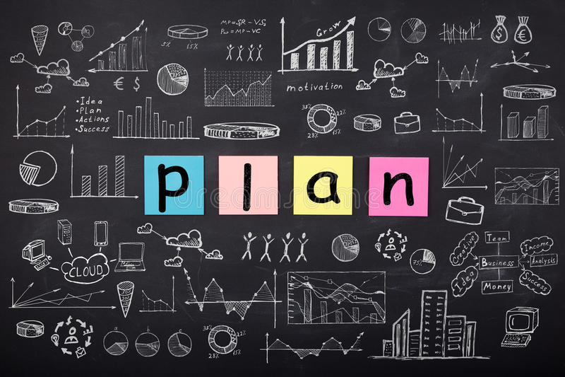Business concept - sketch with schemes and graphs on chalkboard. Business concept - word ` Plan `, sketch with schemes and graphs on chalkboard stock photography
