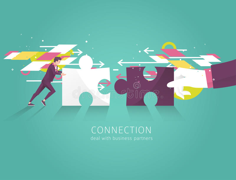 Business concept of solution, partnership, collaboration and support. Businessman and hand combine puzzle pieces. Vector flat illu stock illustration
