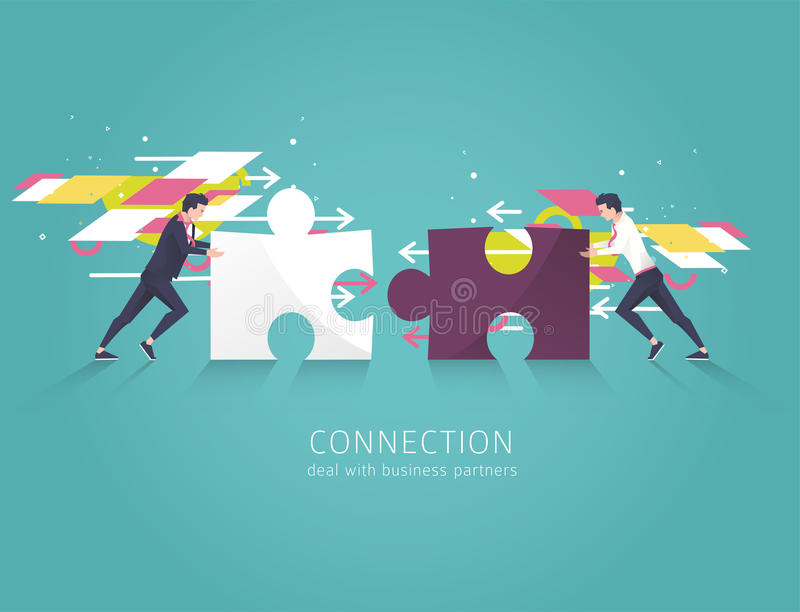 Business concept of solution, partnership, collaboration and support. Two Businessman combine puzzle pieces. Vector flat illustration stock illustration