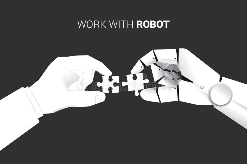 Close up businessman and robot hand put jigsaw piece to fit together. Business concept of solution and working with machine learning. Artificial Intelligence royalty free illustration
