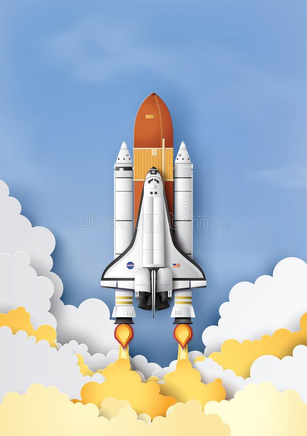 Space shuttle taking off on a mission. royalty free illustration