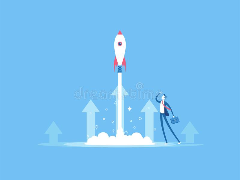 Business concept startup. Businessman launches rocket into the sky. Business startup concept vector flat illustration. Employee oversees the takeoff of a royalty free illustration